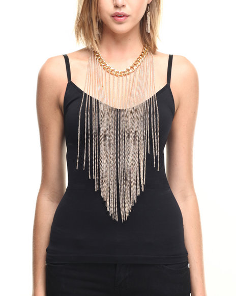 Drj Accessories Shoppe Women Chain & Fringe Long Drape Necklace W/ Gold