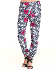 Women - Floral Pop Leaves Print Soft Jogger