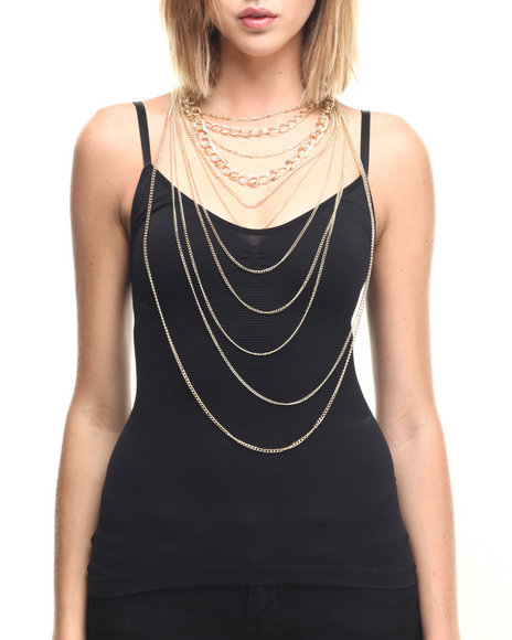 Drj Accessories Shoppe Women Multi Chain Long Drape Necklace Set Gold