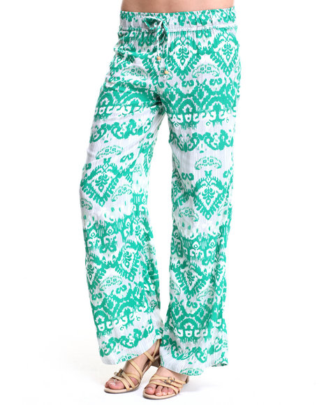 Ur-ID 219685 She's Cool - Women Green Indie Print Chiffon Palazzo Pant