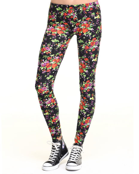 Ur-ID 219654 She's Cool - Women Orange Floral Print Cotton Legging
