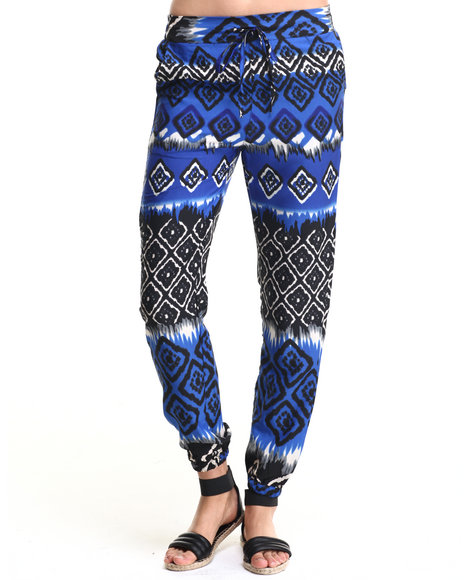 She's Cool - Women Blue Ombre Aztec Soft Jogger