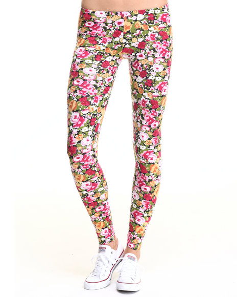 Ur-ID 219688 She's Cool - Women Pink Floral Print Cotton Legging
