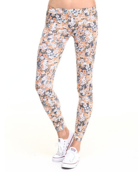 She's Cool - Women Dark Orange Floral Print Cotton Legging