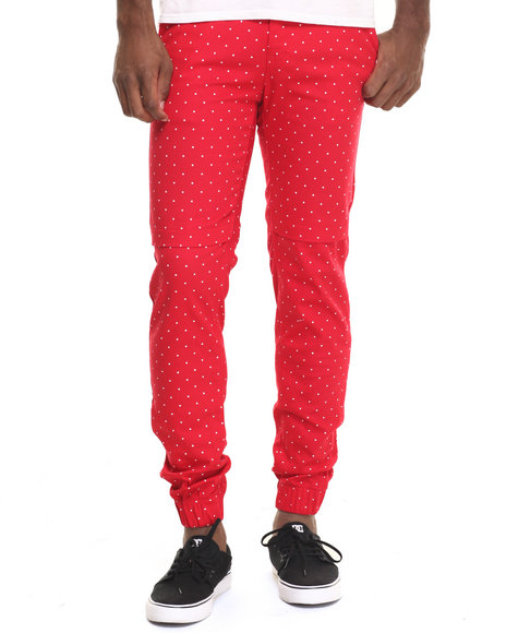 Basic Essentials - Men Red Polka - Dot Joggers - $42.00