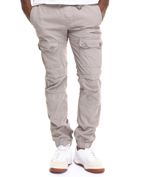 Basic Essentials - Men Grey Slim - Fit Front - Pocket Cargo Joggers