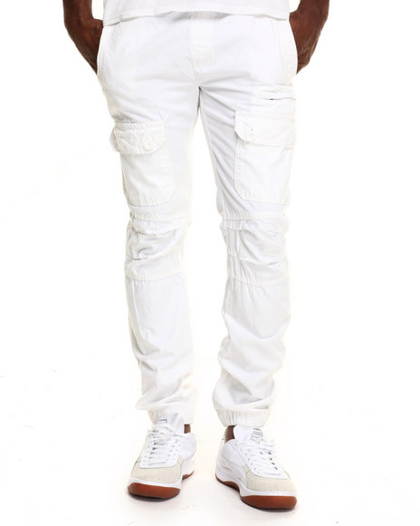 Basic Essentials - Men White Slim - Fit Front - Pocket Cargo Joggers