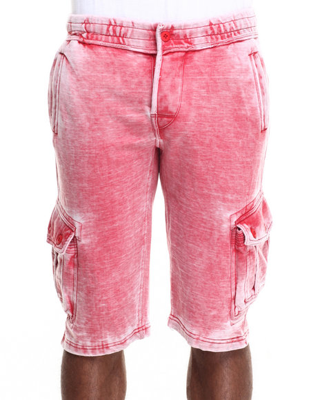 Basic Essentials - Men Red Washed - Down Fleece Cargo Shorts