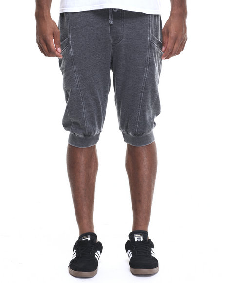 Basic Essentials - Men Black Washed - Down Fleece Jogger Shorts