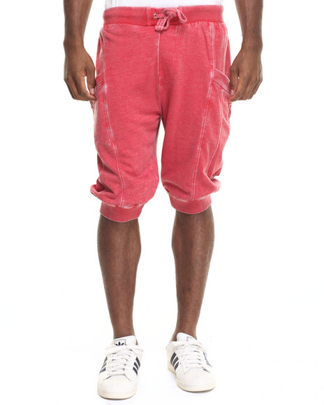 Basic Essentials - Men Red Washed - Down Fleece Capri Pants - $45.00