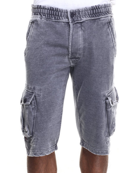 Basic Essentials - Men Blue Washed - Down Fleece Cargo Shorts