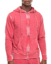 Hoodies - Burn Out Fleece Zip - Up Hoodie