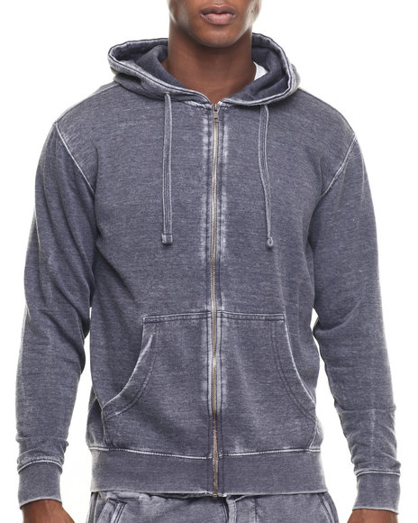 Basic Essentials - Men Blue Burn Out Fleece Zip - Up Hoodie