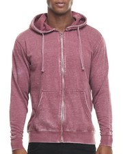 Basic Essentials - Burn Out Fleece Zip - Up Hoodie
