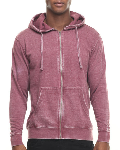Ur-ID 219722 Basic Essentials - Men Maroon Burn Out Fleece Zip - Up Hoodie