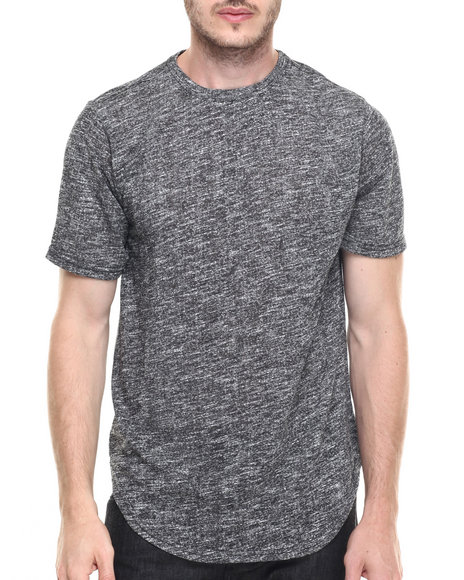 Buyers Picks - Men Black Contender Melange Scallop Bottom S/S Tee (S-3X) - $15.99
