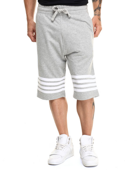 Buyers Picks - Men Grey Striped French Terry Drawstring Shorts - $17.99