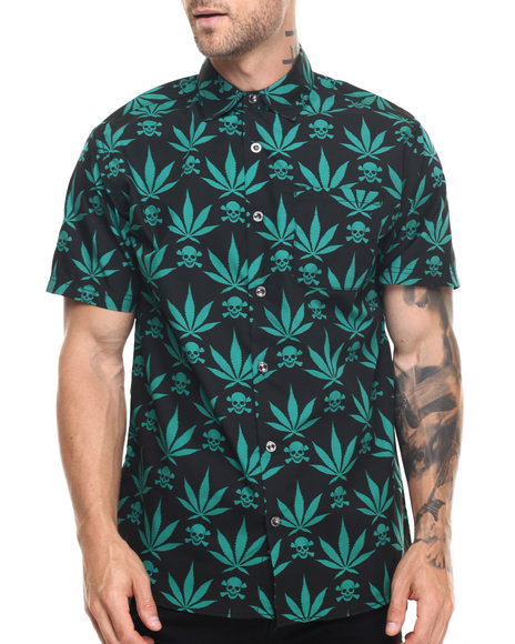 Buyers Picks - Men Green 4/20 Leaf Print S/S Button Down Shirt