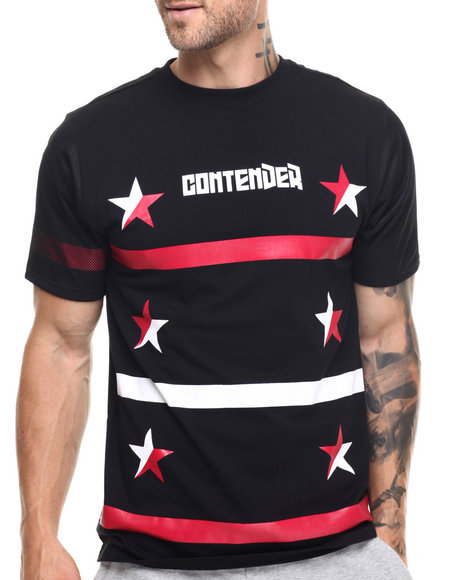 Buyers Picks - Men Black Contender Stars Crewneck S/S Tee - $25.99