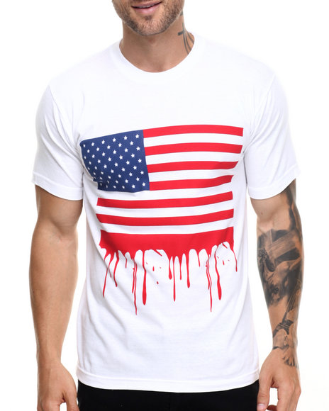 Graf-X Gallery - Men White Dripped Flag S/S Tee - $8.99