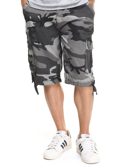 Buyers Picks - Men Grey Washed City Camo Belted Cargo Shorts