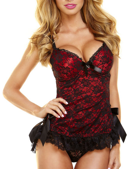 Hustler Lingerie - Women Red Lace Bustier And Panty Set