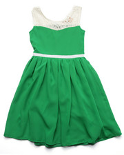 Girls - Lace Yoke Chiffon Dress (7-16)
