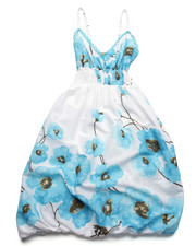 Girls - Floral Print Cotton Bubble Dress (7-16)