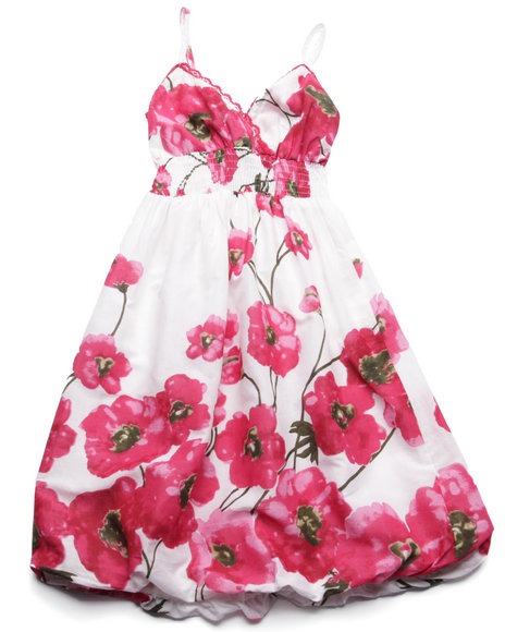 She's Cool - Girls Pink Floral Print Cotton Bubble Dress (7-16)