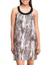 Dresses - Cheetah Print U Neck Woven Dress