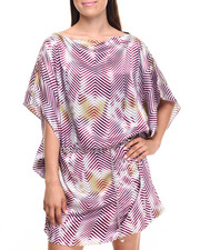 Dresses - Tye Die Chevron Print Belted Satin Dress