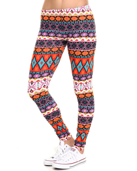 Ur-ID 219822 She's Cool - Women Orange Aztec Print Cotton Legging