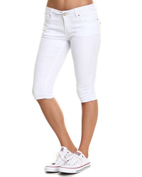 Ur-ID 219823 Basic Essentials - Women White Rebel By Right Cropped Roll Cuff-Flap Pocket Jean