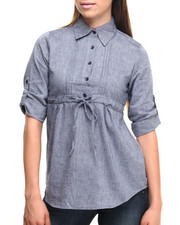 Polos & Button-Downs - Chambray Babydoll Roll-Up Sleeve Cotton Shirt