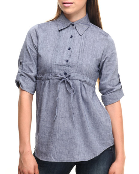 Ur-ID 219826 She's Cool - Women Light Wash Chambray Babydoll Roll-Up Sleeve Cotton Shirt