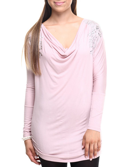 Ur-ID 219827 Vertigo - Women Pink Shoulder Studded Ruched Sides Top