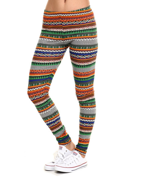 Ur-ID 219829 She's Cool - Women Orange Tribal Cotton Legging