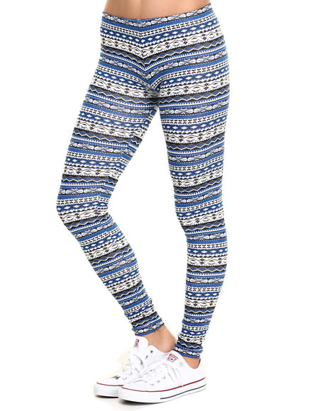 Ur-ID 219830 She's Cool - Women Blue Aztec Print Cotton Legging