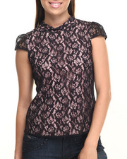 Sleeveless - All Over Lace Cap Sleeve Woven Top