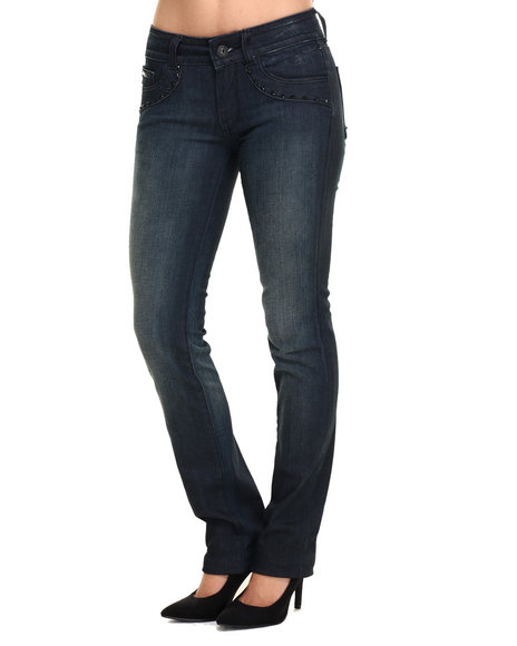 Vertigo - Women Dark Wash Beaded Trim 5 Pocket Skinny Jean