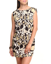 Women - Snake Print Satin Zip Back Sheath Dress