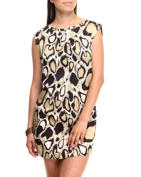 Vertigo - Women Animal Print Snake Print Satin Zip Back Sheath Dress