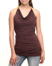 Women - Draped Front Chain Strap S/L Knit Top