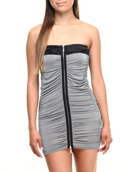 Vertigo - Women Grey Zip Front Caterpillar Tube Top