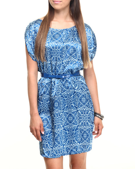 Ur-ID 219891 Vertigo - Women Multi Monofloral Belted Woven Dress