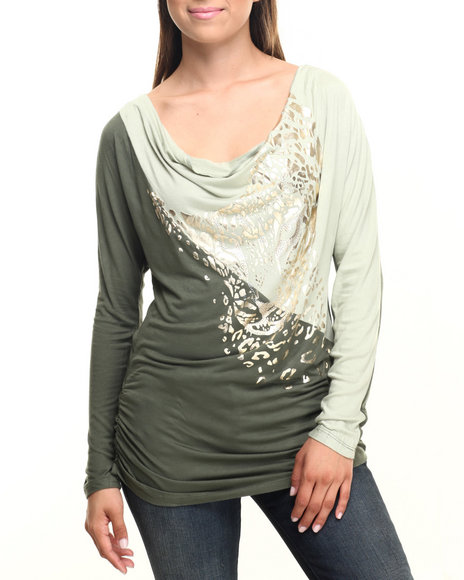 Vertigo - Women Olive Foil Front Draped Neck L/S Knit Top