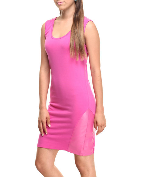 Ur-ID 219894 Vertigo - Women Pink Vegan Leather Trimstretch Knit Sheath by Vertigo