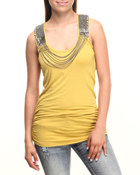 Vertigo - Women Yellow Draped Chain Keyhole Back Knit Tunic