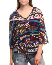 Tops - Mixed Print Mesh Butterfly Wing Top