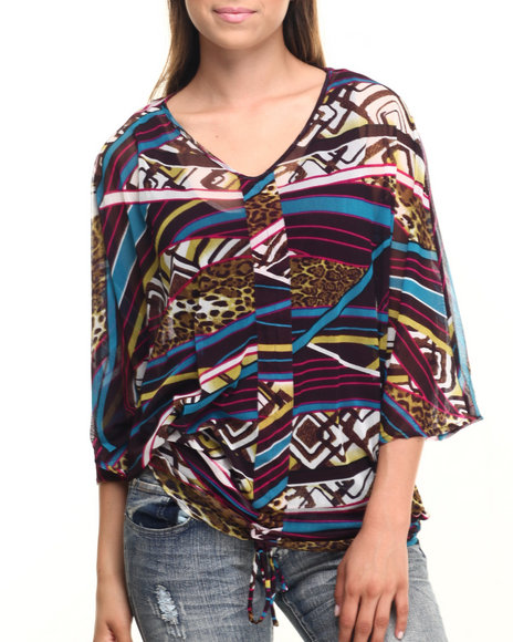 Ur-ID 219901 Vertigo - Women Multi Mixed Print Mesh Butterfly Wing Top